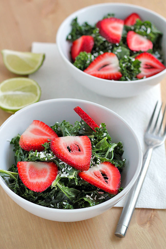 Massaged Kale Salad With Strawberries and Coconut-Lime Dressing