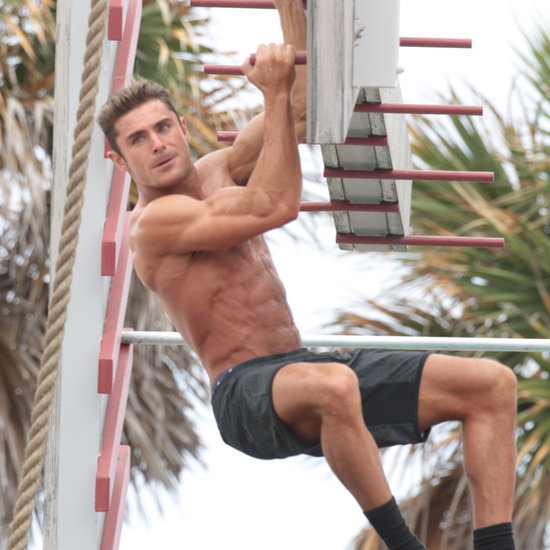 Zac Efron Shirtless Baywatch Movie Set Pictures
