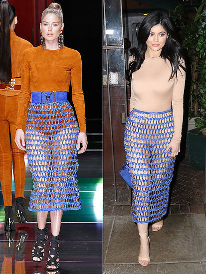 High Fashion Faceoff! Kylie Jenner's See-Through Balmain Skirt Is Ripped from the Runway