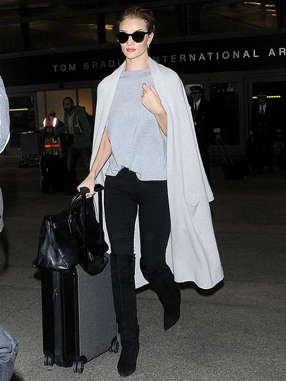 Rosie Huntington-Whiteley Has Been Tricking Us With Her Stylish Airport Outfits, and It's Kind of Brilliant