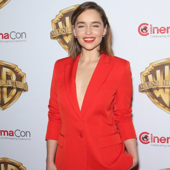 Emilia Clarke Wearing a Red Suit at CinemaCon 2016