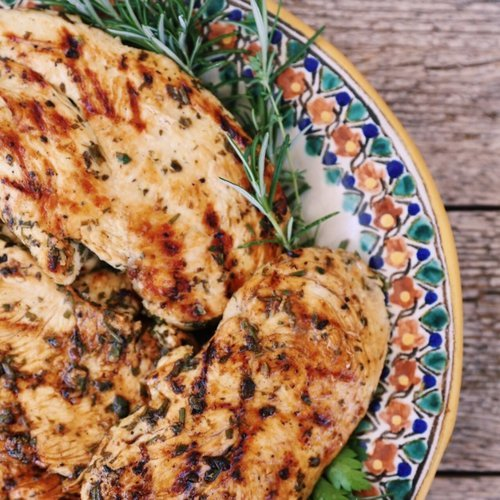 Lemon Herb BBQ Chicken With Sweet Mesquite Beans Recipe — Dishmaps