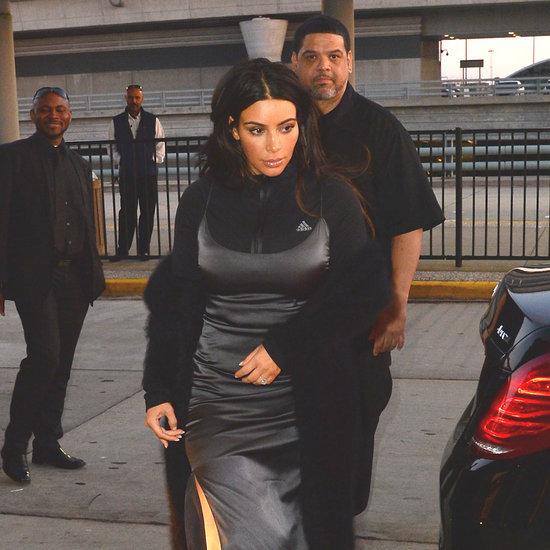 Kim Kardashian Wearing a Slip Dress and Zip-Up