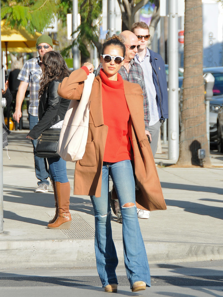 The actress nailed the monochrome color combo in December '15, rocking her distressed jeans with orange and brown pieces.