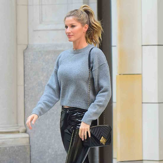 Gisele Bundchen Wearing Leather Pants April 2016