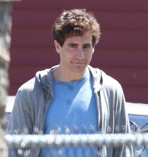 Jake Gyllenhaal looks young in character and costume on set of Stronger in Massachusetts