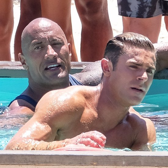 Dwayne Johnson and Zac Efron Swimming on the Set of Baywatch