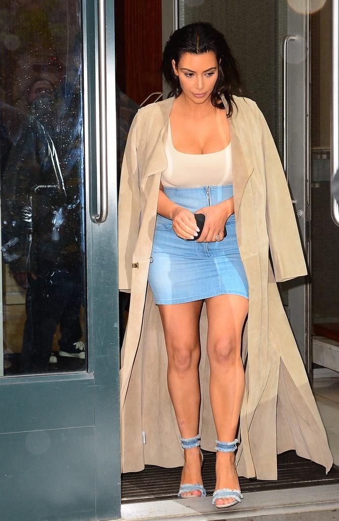 Kim Kardashian Wearing A Denim Skirt May 2016 Popsugar Fashion Australia