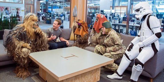 Mark Zuckerberg Holds Team Meeting With Chewbacca, Ewoks