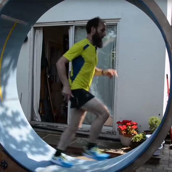Man Runs in Human Hamster Wheel For 24 Hours