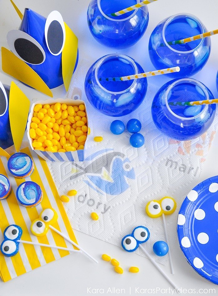 Finding dory birthday party ideas popsugar moms for R b party decorations