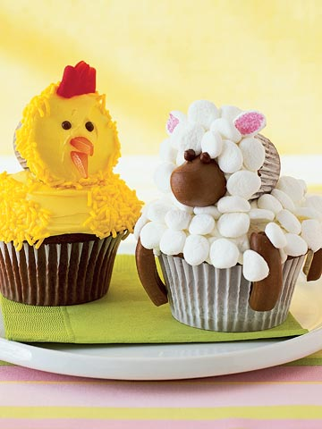 Chick and Lamb cupcakes