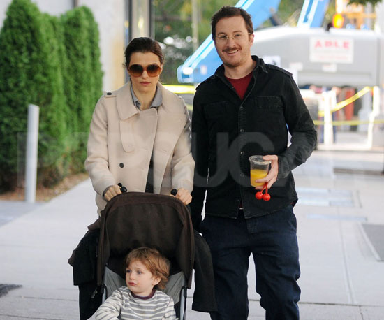 Slide Photo of Rachel Weisz and Darren Aronofsky with Henry Chance in NYC