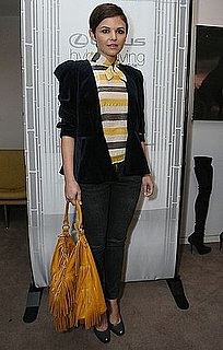 Ginnifer Goodwin Wears a Striped Blouse, Velvet Blazer, and Yellow Fringe Bag to an LA Event