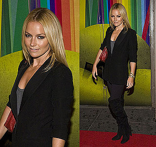"""Actress Becki Newton Wears a Blazer and Over the Knee Boots to """"Finian's Rainbow"""" Broadway Opening Night"""