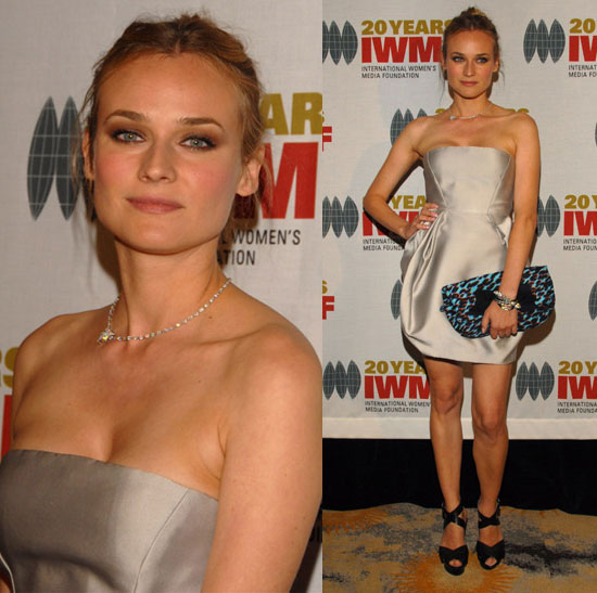 Diane Kruger Attends The International Womens Media Foundations Courage In Journalism Awards Wearing Silver Strapless Dress