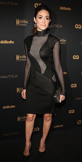 Emmy Rossum Wears Sheer Cut Out Ferragamo Dress to GQ's Gentlemen's Ball in NYC
