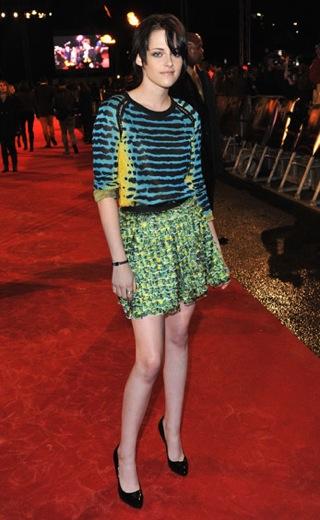 Kristen Stewart Attends London Premiere of New Moon in Colorful Proenza Schouler Spring 2010 Dress 2009-11-11 12:20:00