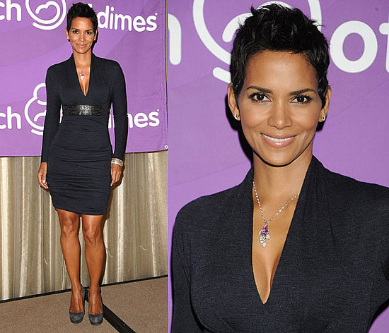 Halle Berry Wears Navy Blue Yigal Azrouel Dress and Blue Gray Suede Pumps