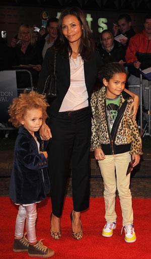 Thandie Newton and Her Children at Premiere of Mr. Fox