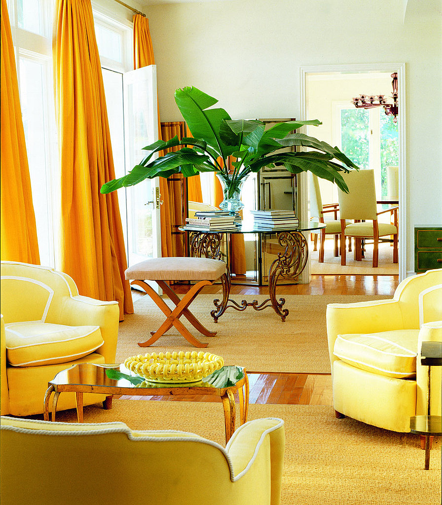 The Living Room No Sugar: Floor-to-ceiling Lemon-yellow Curtains Add Drama To The
