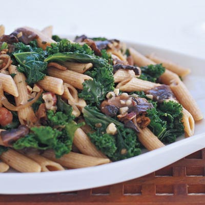 Recipe For Whole Wheat Pasta With Mushrooms and Kale