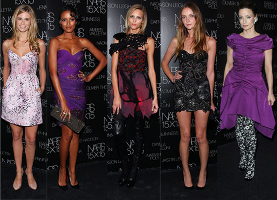 Photo of Anja Rubik, Selita Ebanks, Heather Marks, Julie Henderson, and Marie Smith at NARS 15X15 Party in NYC