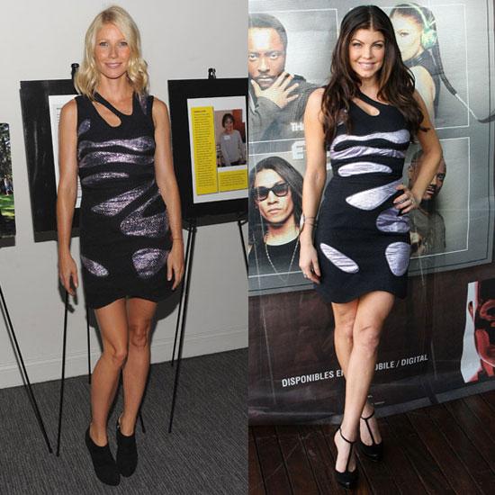 Fergie and Gwyneth Paltrow Wear Same Preen Metallic Cutout Dress