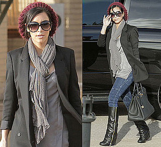 Photo of Kim Kardashian Wearing Zipper Boots and Red Beret While Shopping in Beverly Hills