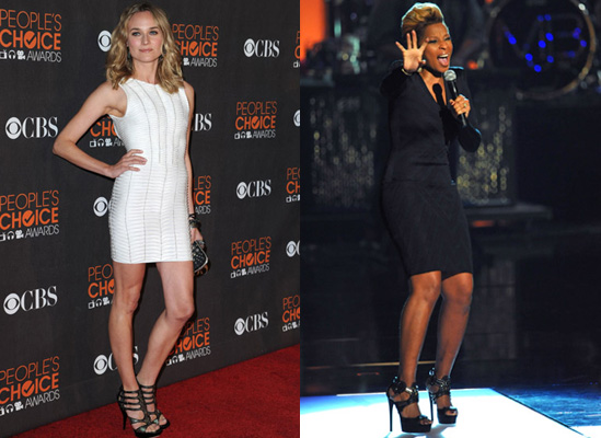 Photos of Celebrities at the Peoples Choice Awards 2010 in Monochrome Dresses
