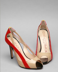 Courtney Crawford Multi Color Pump in Nude, Red, and Black