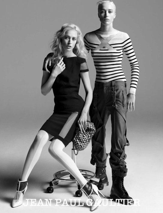 Raquel Zimmermann Does Masculin/Feminin for Jean Paul Gaultier's Fall 2009 Campaign
