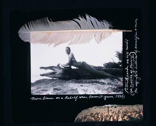 1972: Naomi Sims on a Rudolf Croc, Coconut Grove; by Peter Beard