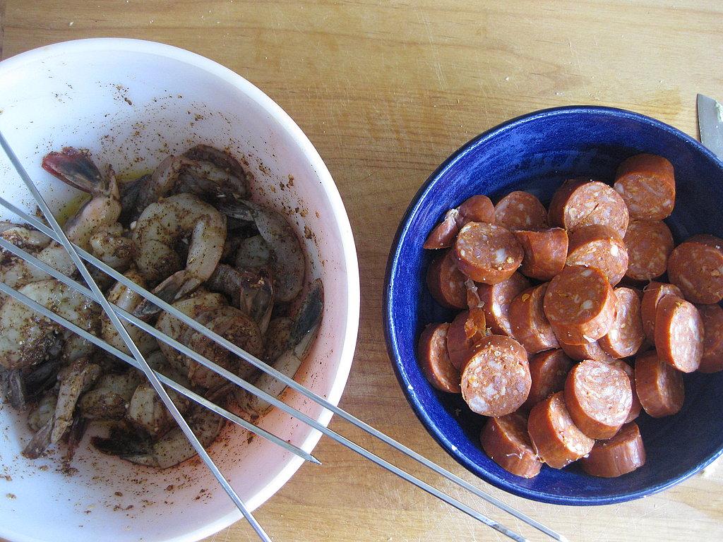 Spicy Shrimp and Chorizo Kebabs