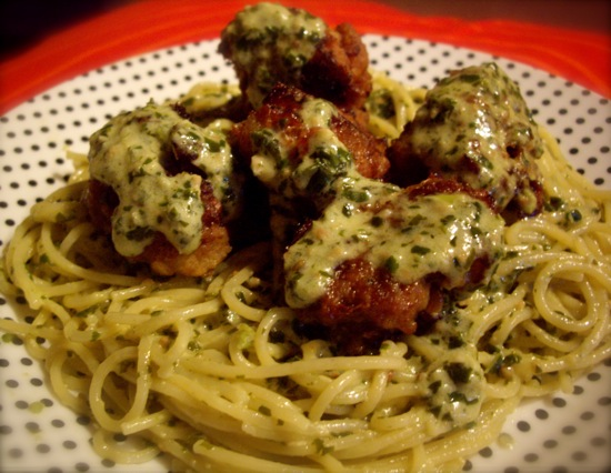 Green Spaghetti and Meatballs