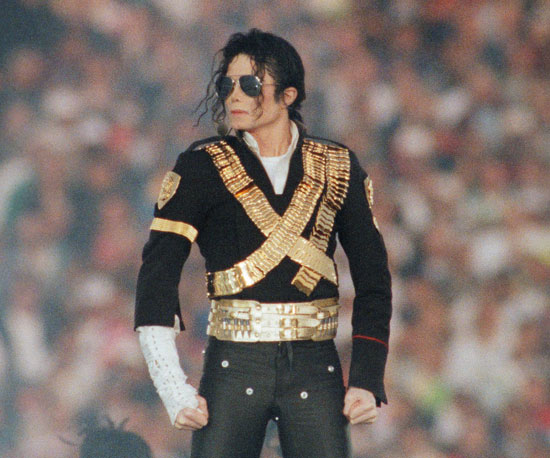 Michael Jackson was known for his voice as well as his fashion, including his quintessential coat, glove, and sunglasses, which he wore to perform at the 1993 Super Bowl.