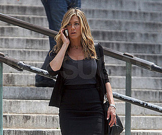 Slide Photo of Jennifer Aniston Filming The Bounty on the Phone