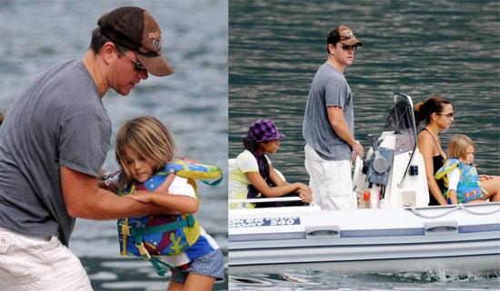 Photos of Matt Damon, Isabella Damon, Luciana Damon, Alexia Barroso at Lake Como