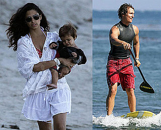 Photos of Matthew McConaughey Paddle Surfing While Bikini-Clad Pregnant Camila Alves and Levi Watch in Malibu