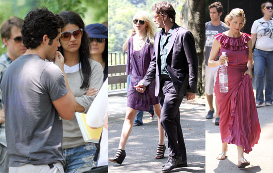Photos of Michelle Trachtenberg, Kelly Rutherford, Penn Badgley, Taylor Momsen, Jessica Szohr Filming Gossip Girl