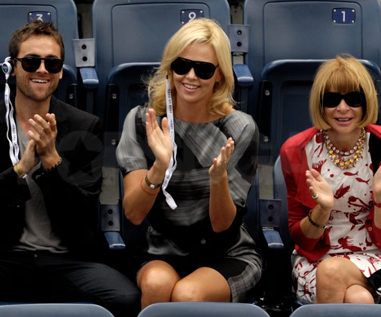 Slide Photo of Charlize Theron, Stuart Townsend, Anna Wintour at US Open