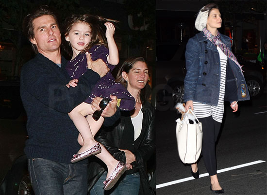Photos of Tom Cruise, Katie Holmes, Suri Cruise, And Connor Cruise Eating Dinner in Boston