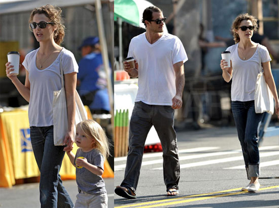 Photos of Keri Russell, Shane Deary, River Deary in Brooklyn
