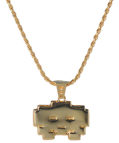Han Cholo Gold Grumpy Space Invaders Necklace