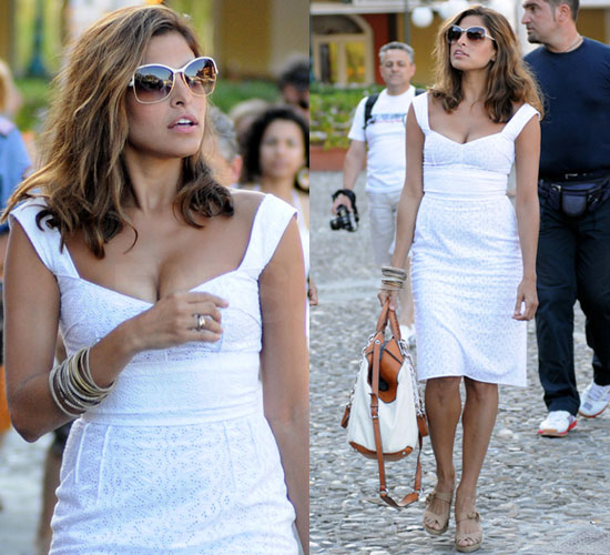 Photo of Eva Mendes in White Dress in Portofino, Italy