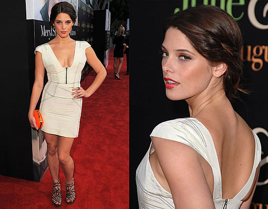 Ashley Greene Attends the LA Premiere of Julie & Julia in White Brian Reyes Dress and Jimmy Choo Sandals