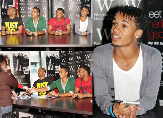 Photos of JLS aka Aston Merrygold, Marvin Humes, Oritse Williams, JB Gill Signing Copies Of Their Book In Liverpool