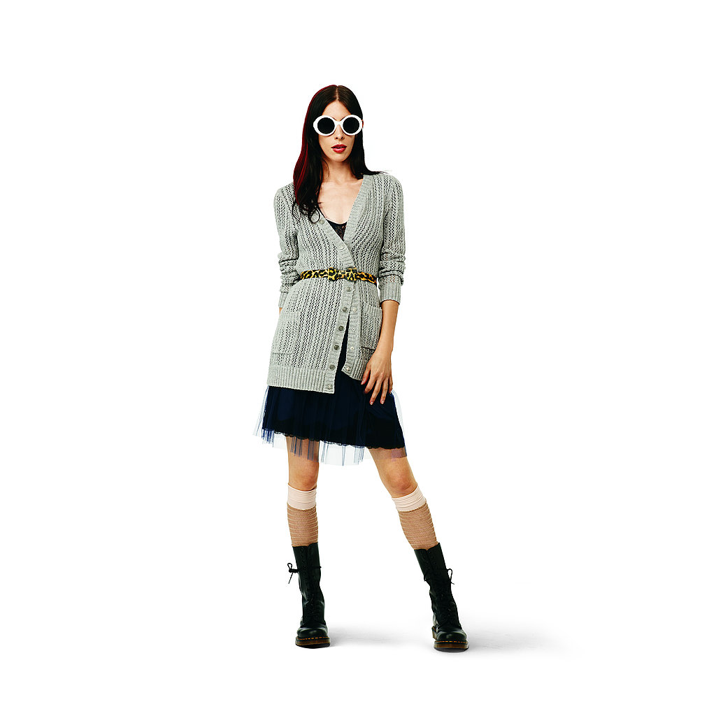 Lace Tee in navy, $16.99 Asymmetrical Cardigan in gray, $44.99 Lace and Tulle Skirt in navy: $29.99, Bow Belt in yellow leopard, $12.99 Cut-Out Knee-Highs in tan/peach, $9.99