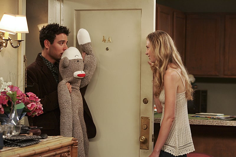 Even though Ted sucks at dumping Natalie (he does it twice, and both times on her birthday), he's very cute trying to get her back with a giant sock monkey.