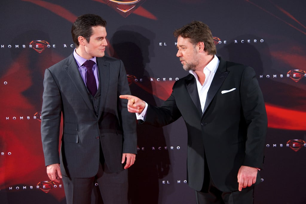 Henry Cavill and Russell Crowe premiere Man of Steel in Madrid on Monday.